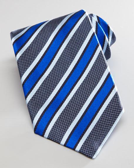 Melange Diagonal Striped Silk Tie, Blue