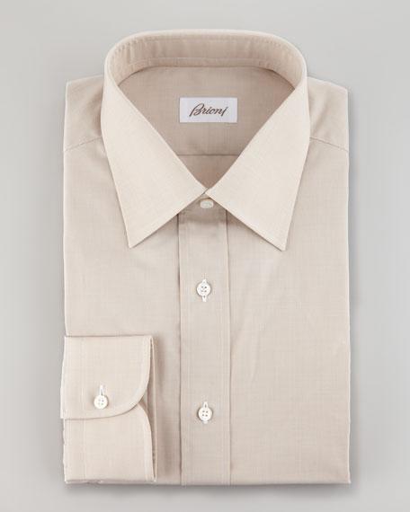 Micro Houndstooth Dress Shirt, Tan