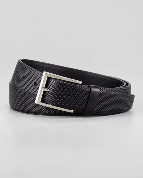 Perforated Leather Belt, Black