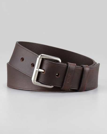 Casual Leather Belt, Brown