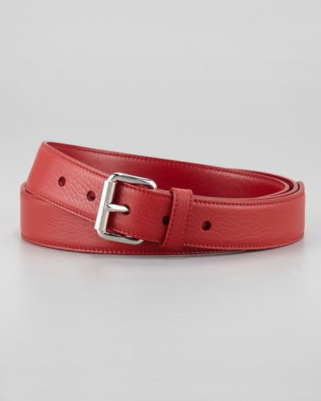 Daino Leather Belt, Red