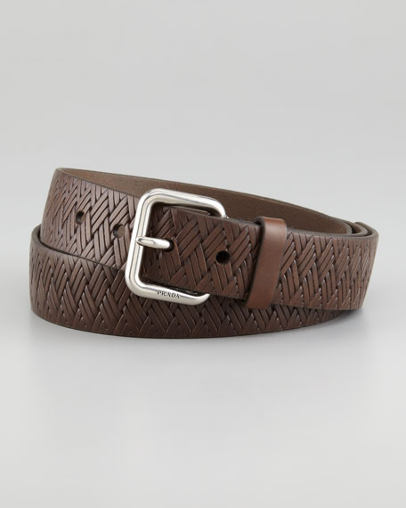 Stamped Woven Belt, Gray