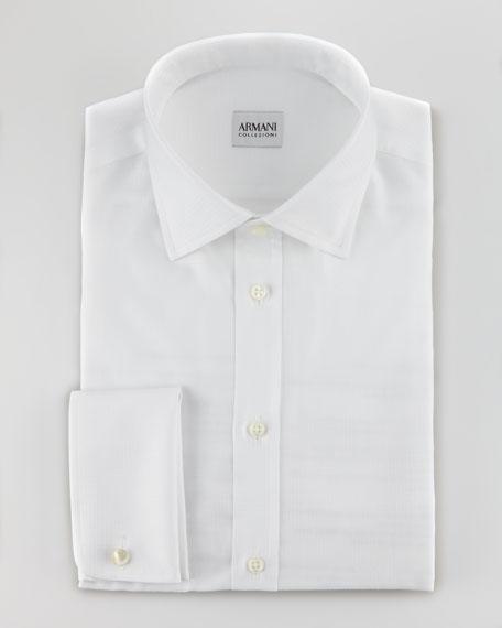 Tonal Grid Woven Shirt, White