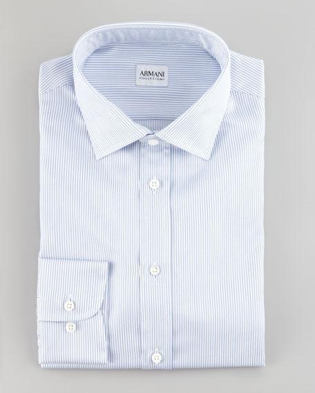 Narrow Pinstripe Shirt, Blue