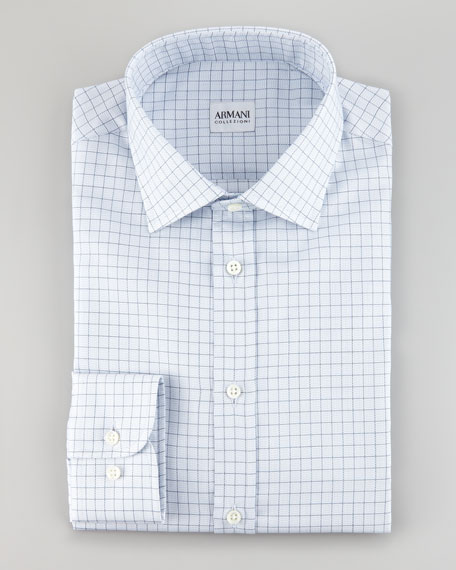 Dotted Graph Check Shirt, Light Blue