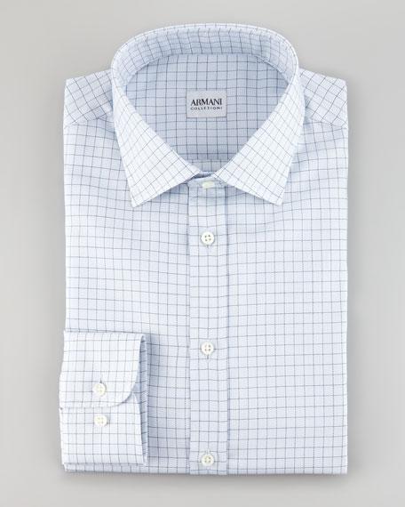 Dotted Graph Check Shirt, Light Blue