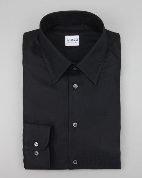 Tonal Grid Check Sport Shirt, Black