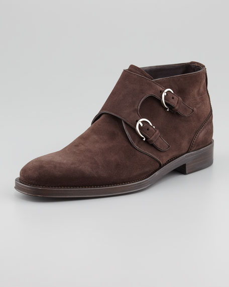 Arezzo Double-Monk Strap Buckled Boot, Brown