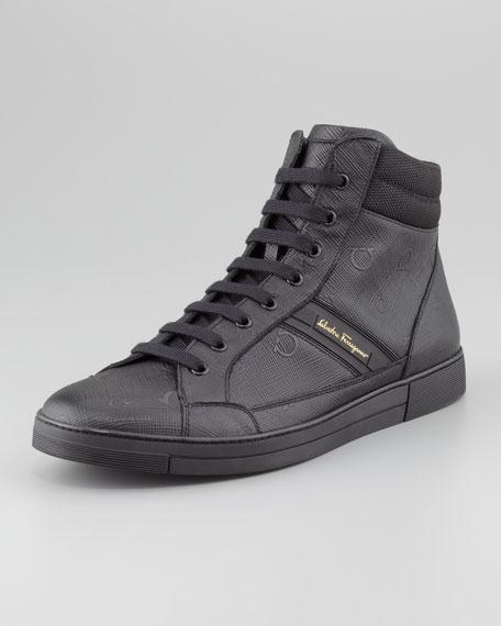 Akira3 Gancini-Embossed Sneaker, Black