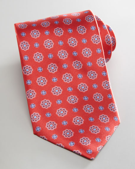 Neat Flowers Tie, Red