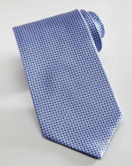 Microneat Circle Silk Tie, Blue