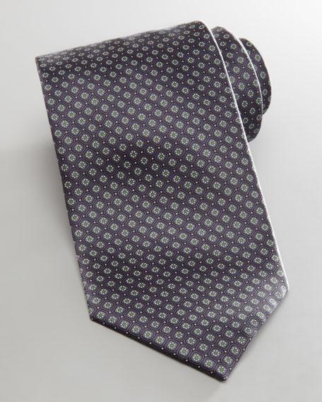 Micro Neat Flowers Tie, Gray