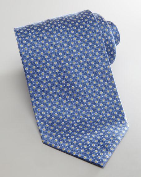 Micro Neat Flowers Tie, Blue