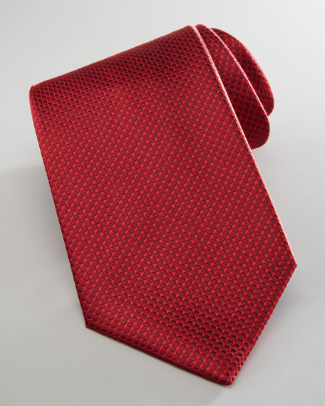 Dotted Silk Tie, Red/Tonal