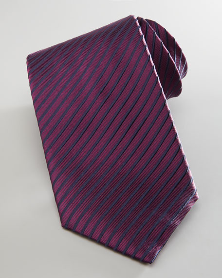 Diagonal-Striped Silk Tie, Wine