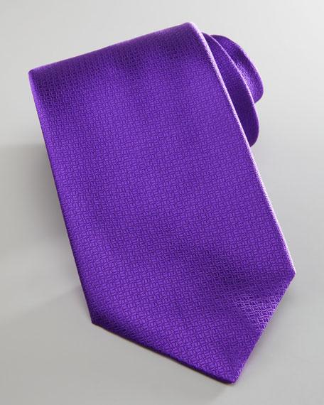 Herringbone Dotted Silk Tie, Purple