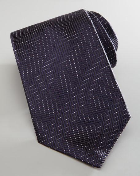 Herringbone Dotted Silk Tie, Navy