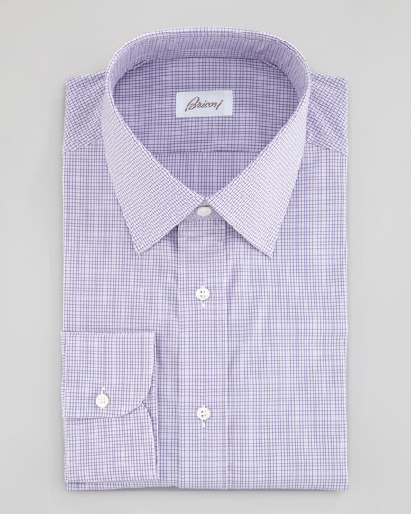 Mini-Check Dress Shirt, Purple