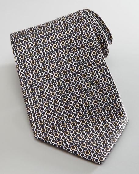 Vertical Gancini-Print Silk Tie, Black