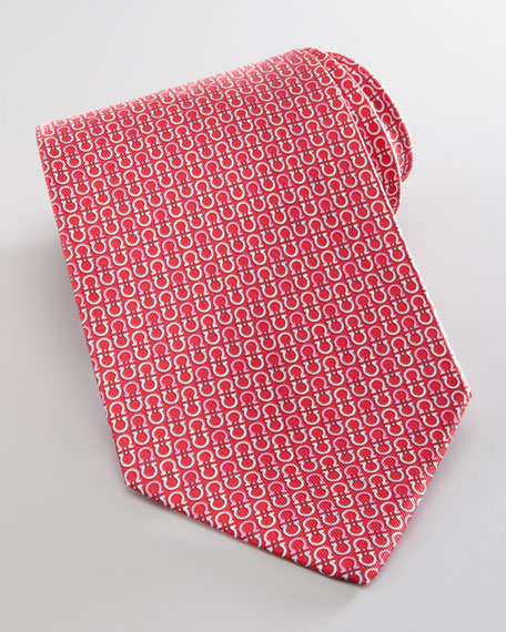 Vertical Gancini-Print Silk Tie, Red