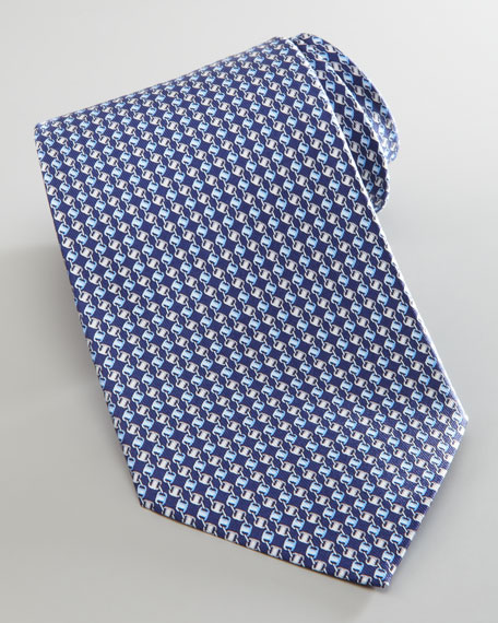 Linked Varas-Print Silk Tie, Navy