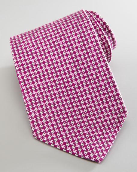 Linked Varas-Print Silk Tie, Prune