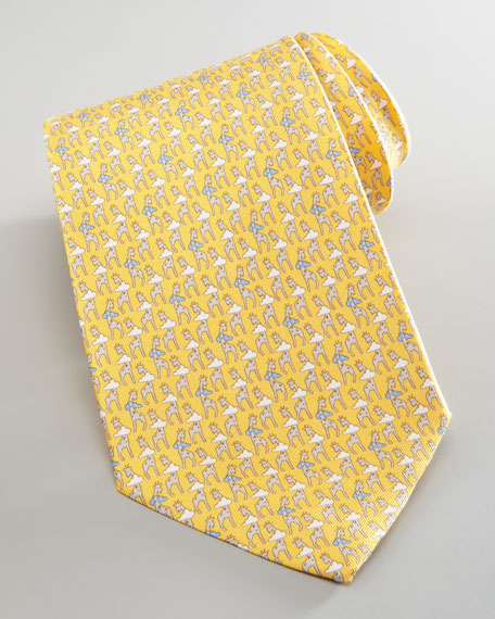 Giraffe-Print Silk Tie, Yellow