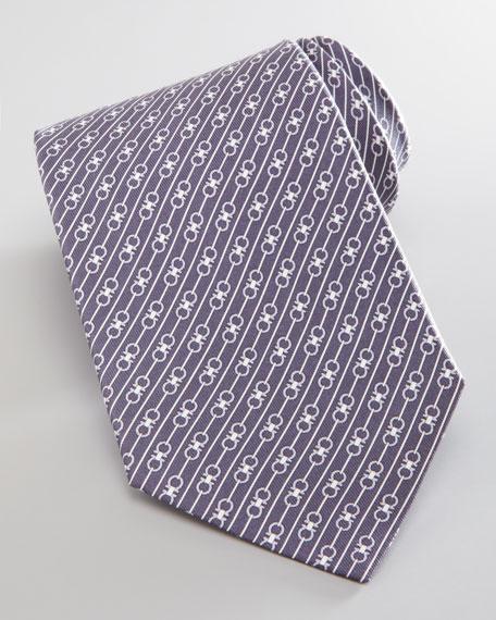 Diagonal Gancini-Print Silk Tie, Gray