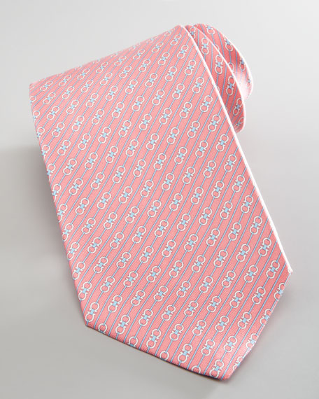 Diagonal Gancini-Print Silk Tie, Pink