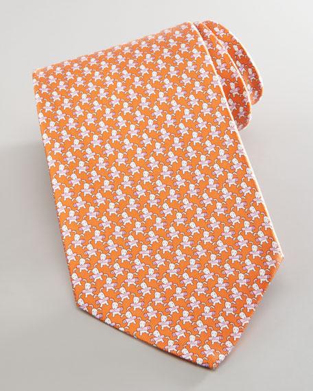 Dog with Newspaper Silk Tie, Orange