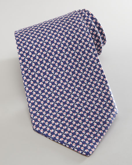 Elephant-Pattern Silk Tie, Navy