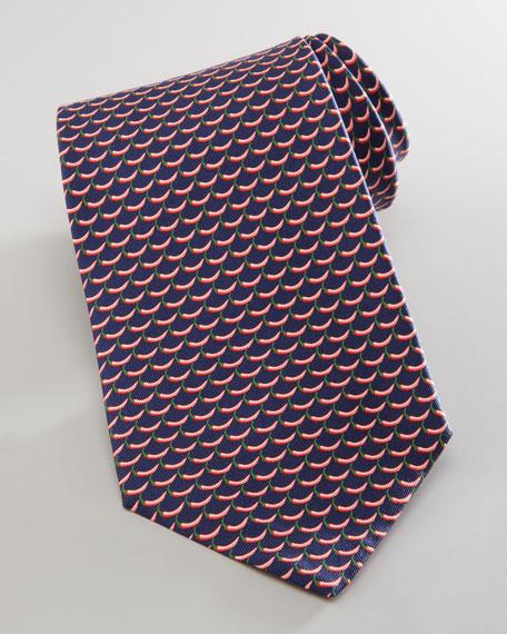 Chili Pepper-Pattern Silk Tie, Navy