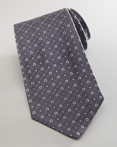 Gancini and Circle Silk Tie, Gray