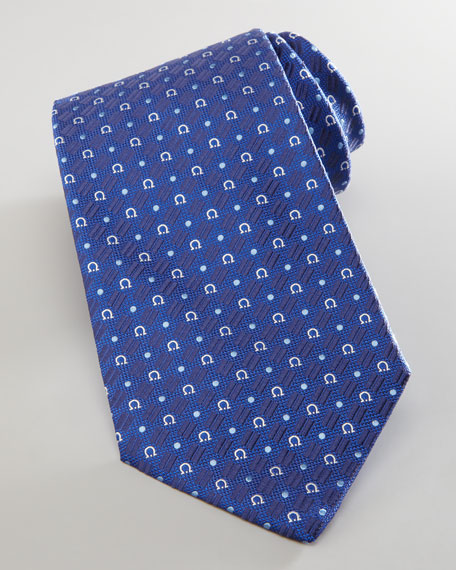 Gancini and Circle Silk Tie, Navy