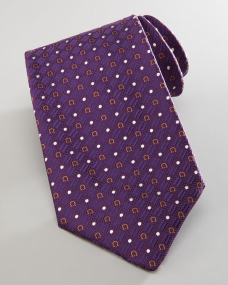 Gancini and Circle Silk Tie, Purple