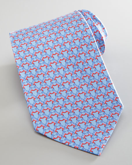 Donkey-Print Silk Tie, Light Blue