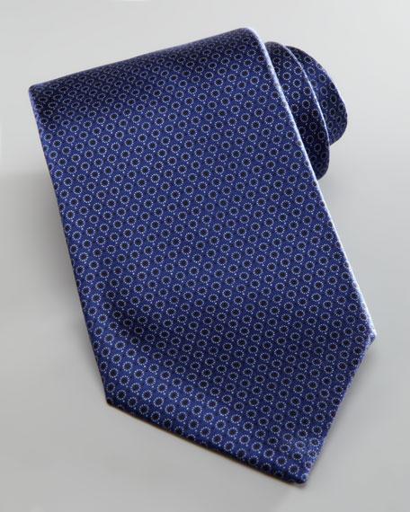 Micro-Circles Silk Tie, Navy