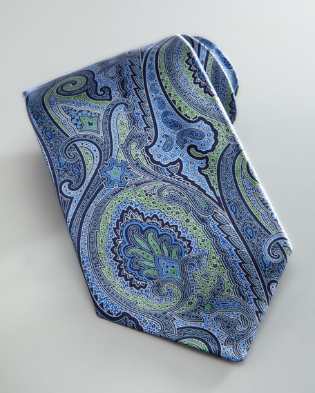 Large Paisley Silk Tie, Green