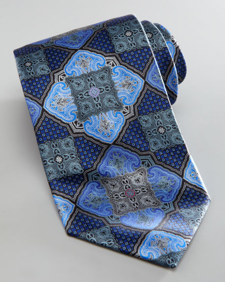 Floating Medallion Silk Tie, Navy