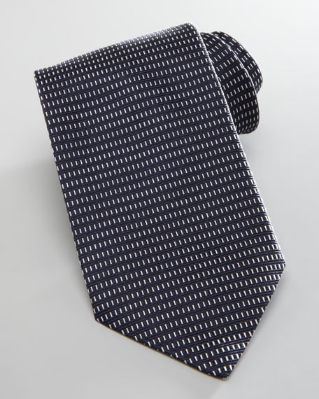 Neat Box-Pattern Silk Tie, Blue
