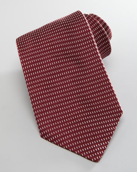 Neat Box-Pattern Silk Tie, Burgundy