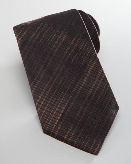 Degrade Plaid Silk Tie, Brown