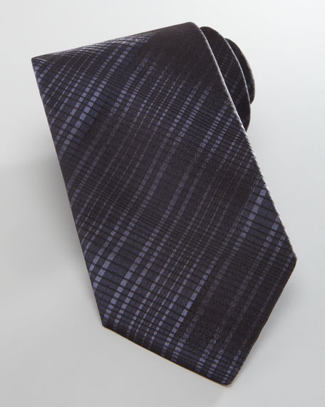 Degrade Plaid Silk Tie, Navy