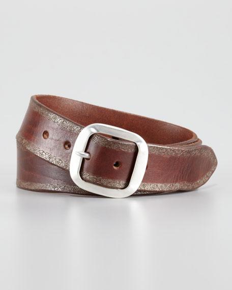 Frame Floral-Trim Leather Belt