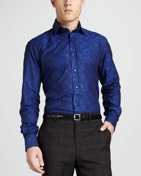 Tonal Paisley Sport Shirt, Blue