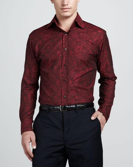 Tonal Paisley Sport Shirt, Spice