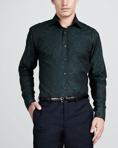 Tonal Paisley Sport Shirt, Forest