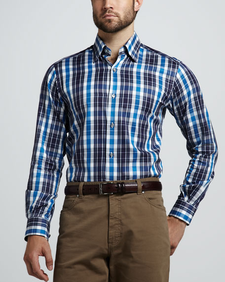 Exploded Plaid Sport Shirt, Avio/Navy