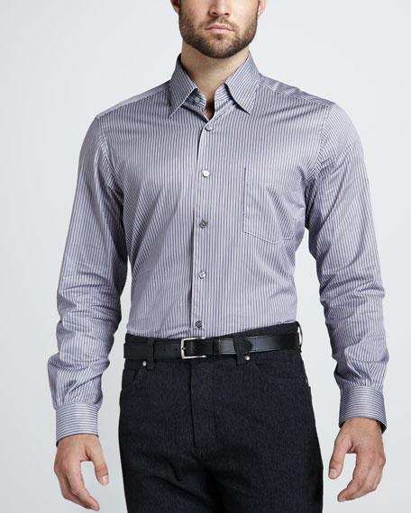 Bengal-Stripe Sport Shirt, Plum/Gray