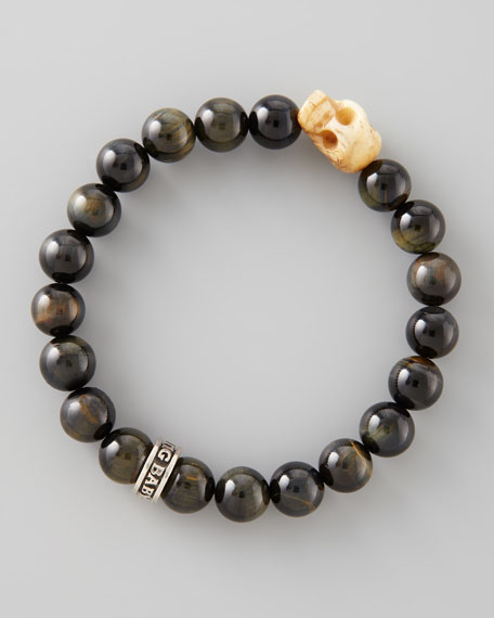10mm Blue Tiger Eye Bead Bracelet